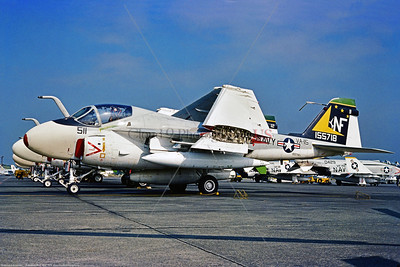A-6-USN-VA-115 001 A static Grumman A-6 Intruder, USN carrier based long range all weather jet bomber, 155718, VA-115 EAGLES, NF code, 10-1976 Atsugi, military airplane picture by Stephen W  D  Wolf   CCC_6910  Dt