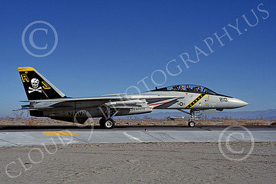 F-14USN 00867 A taxing Grumman F-14 Tomcat USN 160391 VF-84 JOLLY ROGERS USS Nimitz NAS Fallon 1-1981, by Michael Grove, Sr
