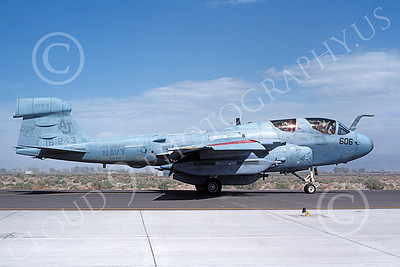 EA-6BUSN 00345 A taxing Grumman EA-6B Prowler USN 161243 VAQ-138 YELLOWJACKETS USS Nimitz NAS Fallon 4-1986 military airplane picture by Michael Grove, Sr
