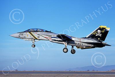 F-14USN 00866 A landing Grumman F-14 Tomcat USN VF-84 JOLLY ROGERS USS Nimitz NAS Fallon 1-1981, by Michael Grove, Sr
