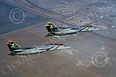 F-14USN 00874 Two flying Grumman F-14 Tomcats USN VF-84 JOLLY ROGERS USS Nimitz 1-1981, by Robert L Lawson