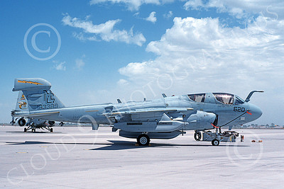 EA-6BUSN 00349 A static Grumman EA-6B Prowler USN 163399 VAQ-138 YELLOWJACKETS USS Nimitz NAS Fallon 6-1995 military airplane picture by Michael Grove, Sr