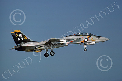 F-14USN 00876 A landing Grumman F-14 Tomcat USN 160380 VF-84 JOLLY ROGERS USS Nimitz 5-1977, by Michael Grove, Sr