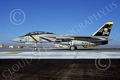 F-14USN 00871 A taxing Grumman F-14 Tomcat USN 160391 VF-84 JOLLY ROGERS USS Nimitz NAS Fallon 1-1981, by Michael Grove, Sr