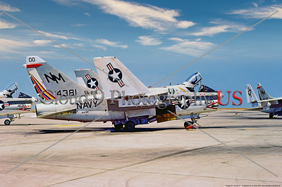 A-7USN-VA-215 001 A static, wings folded, Vought A-7B Corsair II, USN carrier based attack jet, 154381, VA-215 BARN OWLS, USS Oriskany, 2-1978 NAS Lemoore, military airplane picture by Stephen W  D  Wolf       DDD_5147     Dt