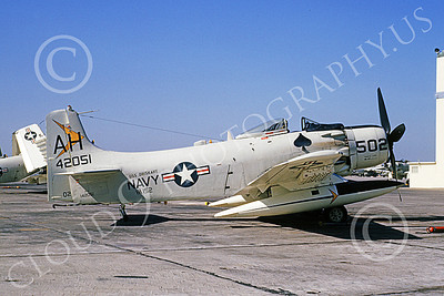 A-1USN 00027 Douglas A-1J Skyraider USN 142051 VA-152 WILD ACES USS Oriskany NAS Alameda 16 Oct 1964, by William L Swisher