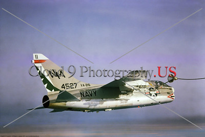 A-7USN-VA-215 006 A Vought A-7B Corsair II USN attack jet, 4527, VA-215 BARN OWLS, USS Oriskany, NM code, doing aerial refueling, by Robert Lawson via Stephen W  D  Wolf collection    CCC_0296     Dt
