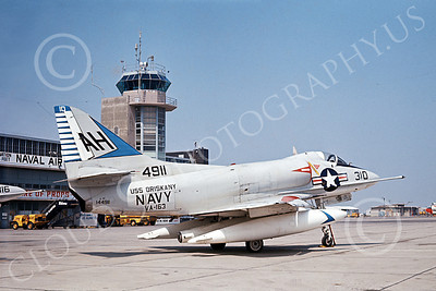 A-4USN 00109 A USN Douglas A-4B Skyhawk attack jet, 142900, VA-163 SAINTS, USS Oriskany, airplane picture, by Duane A Kasulka