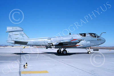 EA-6BUSN 00313 A taxing Grumman EA-6B Prowler USN 161885 VAQ-131 LANCERS USS Ranger NAS Fallon 2-1986 military airplane picture by Michael Grove, Sr