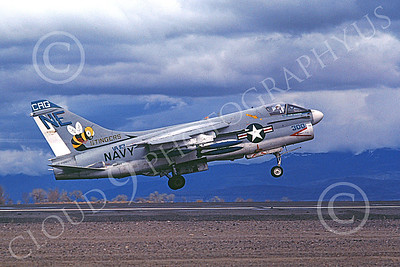 A-7USN 00106 A landing Vought A-7E Corsair II USN 150664 VA-113 STINGERS USS Ranger CAG with bombs NAS Fallon 3-1978 military airplane picture by Michael Grove, Sr