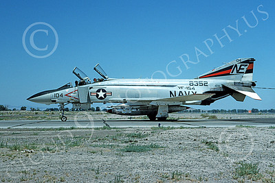 F-4USN 00663 A taxing McDonnell Douglas F-4J Phantom II US Navy 158352 VF-154 BLACK KNIGHTS USS Ranger NAS Fallon 12-1975 military airplane picture by Michael Grove, Sr