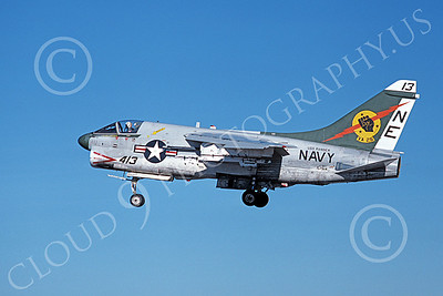 A-7USN 00138 A landing Vought A-7E Corsair II USN 157514 VA-25 FIST OF THE FLEET USS Ranger 1-1980 military airplane picture by Michael Grove, Sr