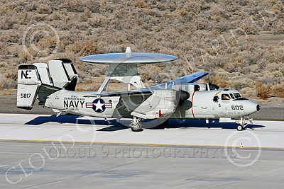E-2USN 00263 A Grumman E-2C Hawkeye US Navy 165817 VAW-113 BLACK EAGLES USS Ronald Reagan taxis at NAS Fallon 1-2015 military airplane picture by Peter J Mancus
