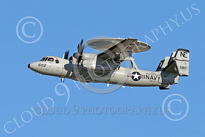 E-2USN 00264 A flying Grumman E-2 Hawkeye US Navy 165817 VAW-113 BLACK EAGLES USS Ronald Reagan 1-2015 military airplane picture by Peter J Mancus