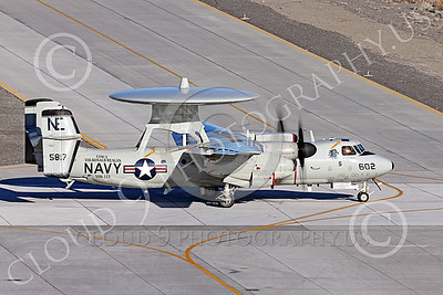E-2USN 00275 A Grumman E-2C Hawkeye US Navy 165817 VAW-113 BLACK EAGLES USS Ronald Reagan taxis at NAS Fallon 1-2015 military airplane picture by Peter J Mancus