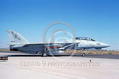 F-14USN 00859 A taxing Grumman F-14 Tomcat USN 162923 VF-74 BEDEVILERS USS Saratoga NAS Fallon 10-1991, by Michael Grove, Sr