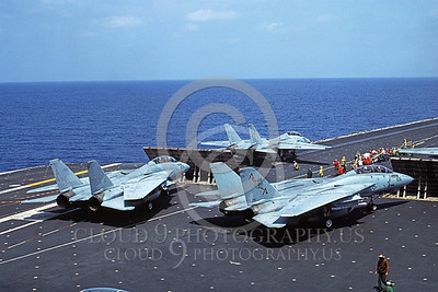 F-14USN 00839 A taxing Grumman F-14 Tomcat USN VF-74 BEDEVILERS USS Saratoga 6-1985, by Andy Collins
