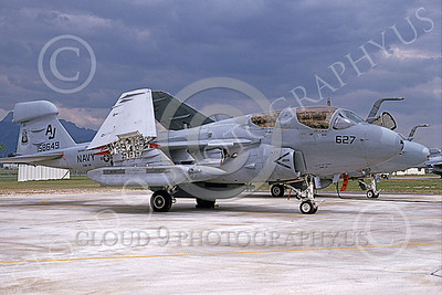 EA-6BUSN 00375 A static Grumman EA-6B Prowler USN 158649 VAQ-141 SHADOWHAWKS USS Theodore Roosevelt 8-1990 military airplane picture by Michael Grove, Sr