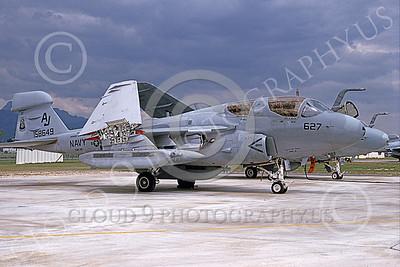 EA-6BUSN 00375 A static Grumman EA-6B Prowler USN 158649 VAQ-141 SHADOWHAWKS USS Theodore Roosevelt 8-1990 military airplane picture by Michael Grove, Sr