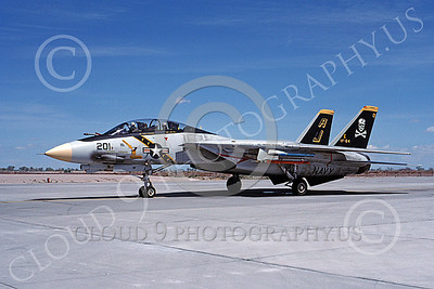 F-14USN 00875 A taxing Grumman F-14 Tomcat USN VF-84 JOLLY ROGERS USS Theodore Roosevelt NAS Fallon 4-1988, by Michael Grove, Sr  D