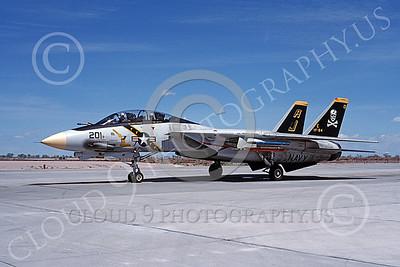 F-14USN 00875 A taxing Grumman F-14 Tomcat USN VF-84 JOLLY ROGERS USS Theodore Roosevelt NAS Fallon 4-1988, by Michael Grove, Sr  D