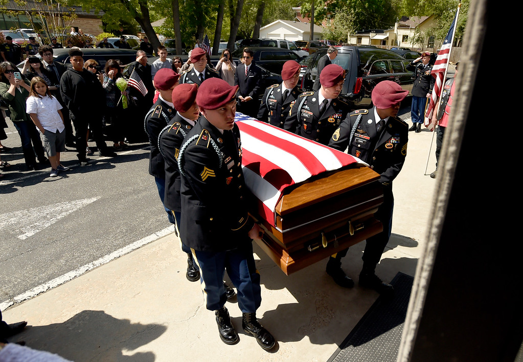 . Members of the U.S. Army Honor Guard carry the flag-draped coffin of U.S. Army Spc. Gabe Conde into the chapel at the Howe Mortuary & Crematory on Friday in Longmont. Conde was killed in action last week in Afghanistan. For more photos go to dailycamera.com Jeremy Papasso/ Staff Photographer 05/11/2018