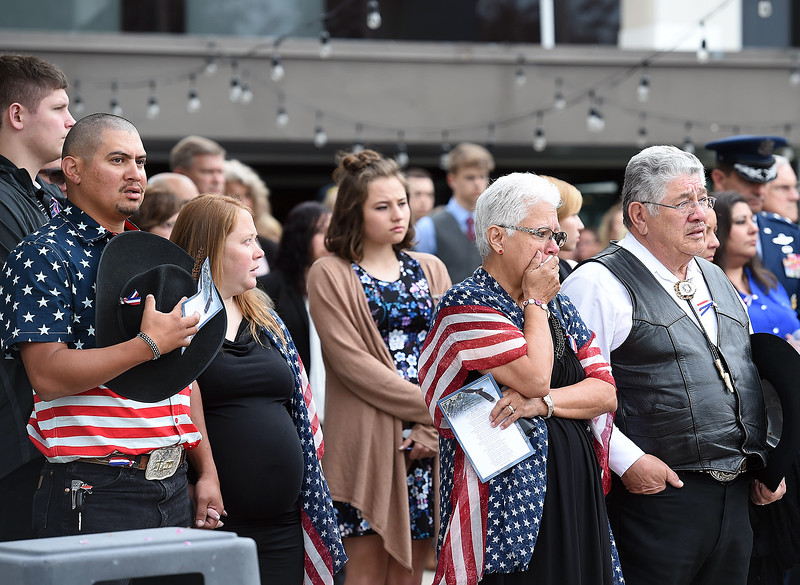 Family and friends of Spc. Gabriel Conde watch as soldiers from his company load his flag-draped casket into a hearse after his memorial service on Saturday, May 12, 2018, at LifeBridge Church in Longmont.  (Photo by Jenny Sparks/Loveland Reporter-Herald)