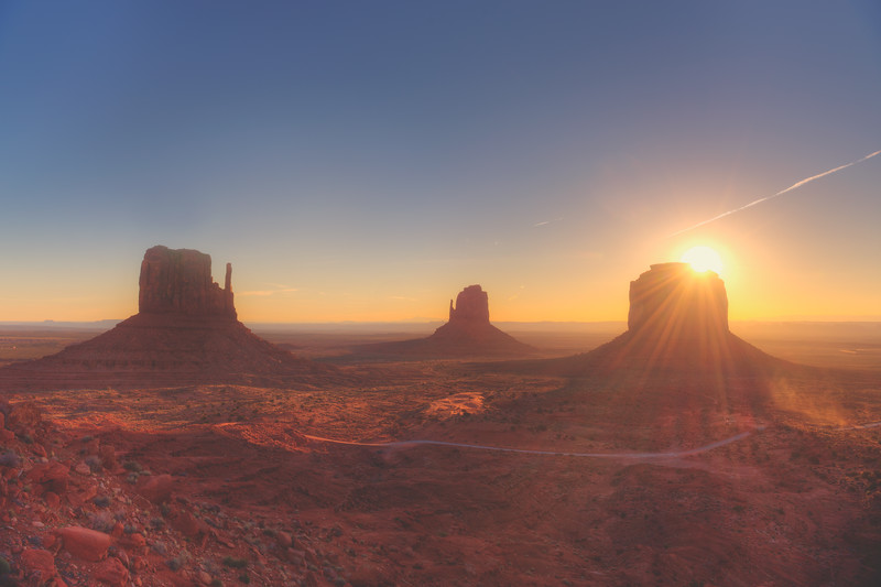 Sunrise Rays over Monument Valley