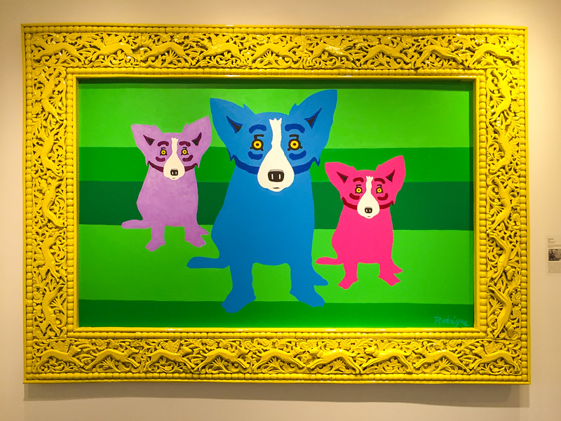 The quirky Blue Dog artwork at the George Rodrigue gallery in Carmel, California