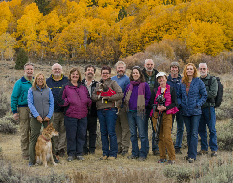 10/20/13 Eastern Sierra Workshop group. L-R: Kent, Claudia, Jim, Eileen, Eric, Beth, Bryan, Cassie, Chris, Fran, Michael, Charlotte, Dave
