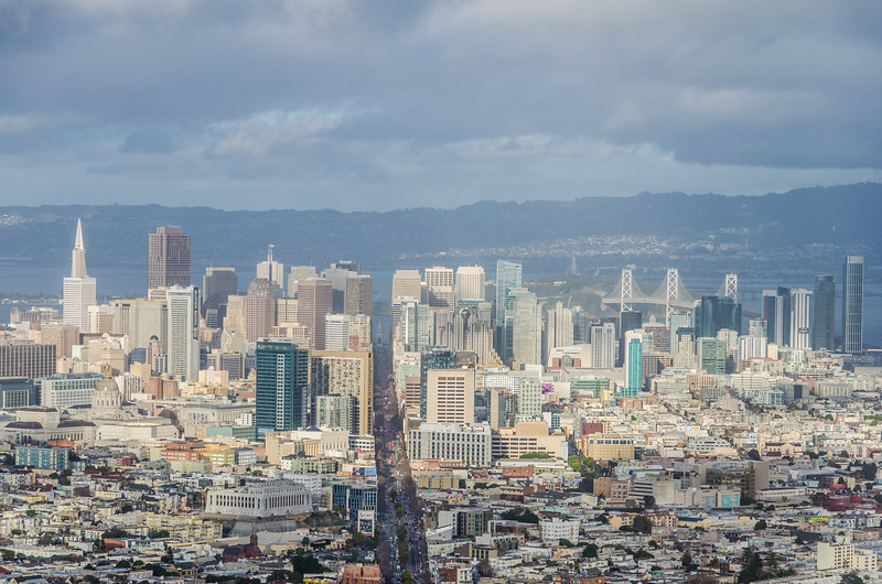 The view of Downtown San Francisco from Twin Peaks outlook.