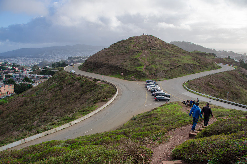 Parking and doing the hike up to the top of Twin Peaks, San Francisco