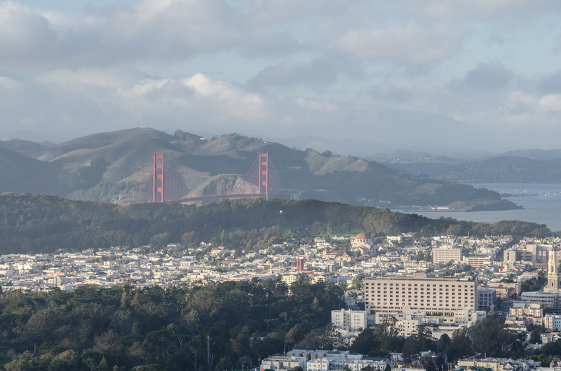 The view of the Golden Gate Bridge from Twin Peaks San Francisco