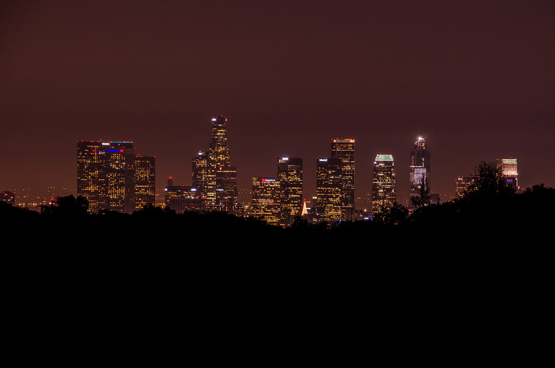 The view of Downtown LA at night from Griffith Park