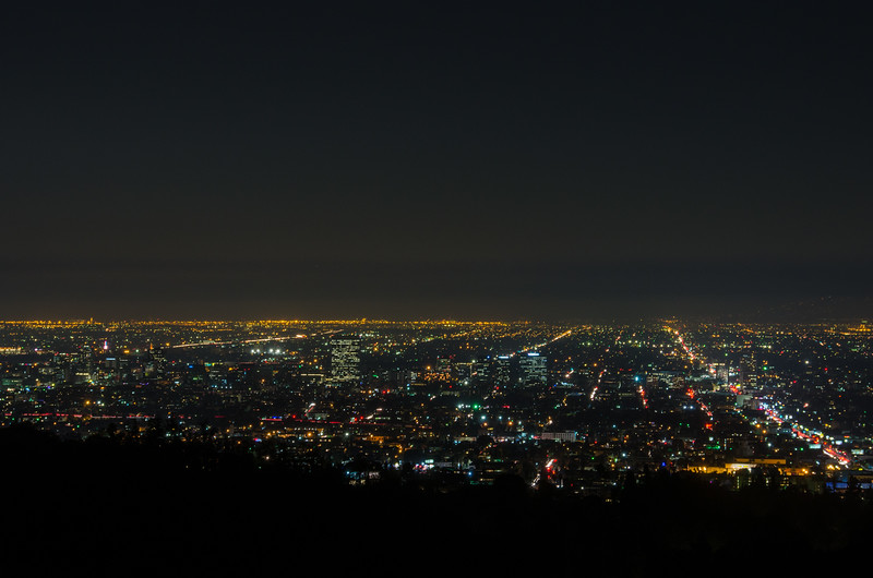 Nighttime views of Hollywood and Western Avenue from Griffith Park