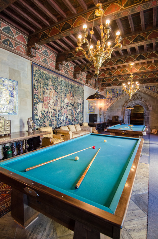 Inside Hearst's private billiards room where he entertained Hollywood stars. Hearst Castle, California