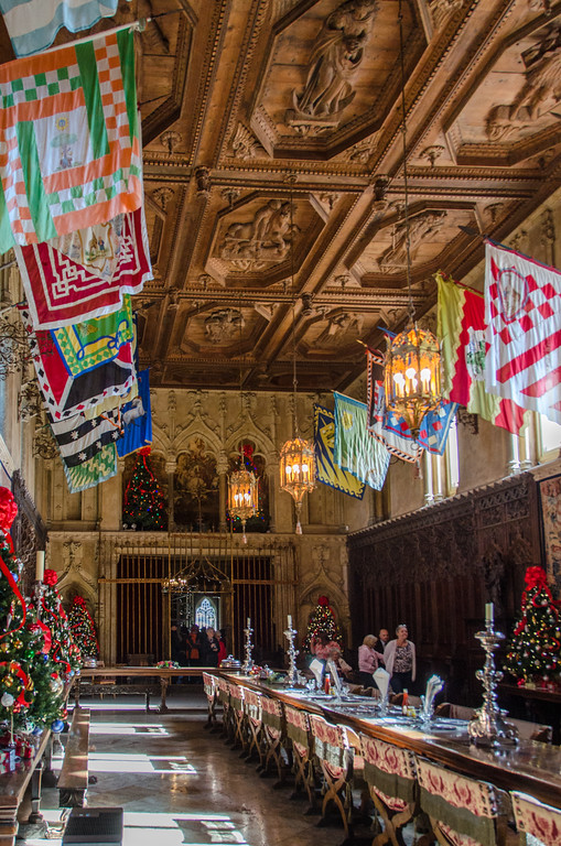 Christmas decorations in the dining room at Hearst Castle on the Central Coast