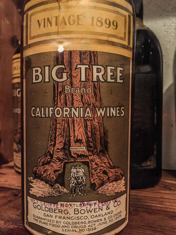 Big Tree Brand Wine in the Hearst wine cellar. Photo tour of Hearst Castle in California