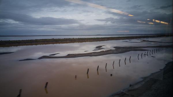 Alviso Slough at Sunrise | Amtrak Capitol Corridor Train