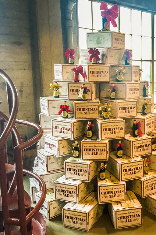 Boxed beer Christmas tree at Anchor Brewing Company, San Francisco