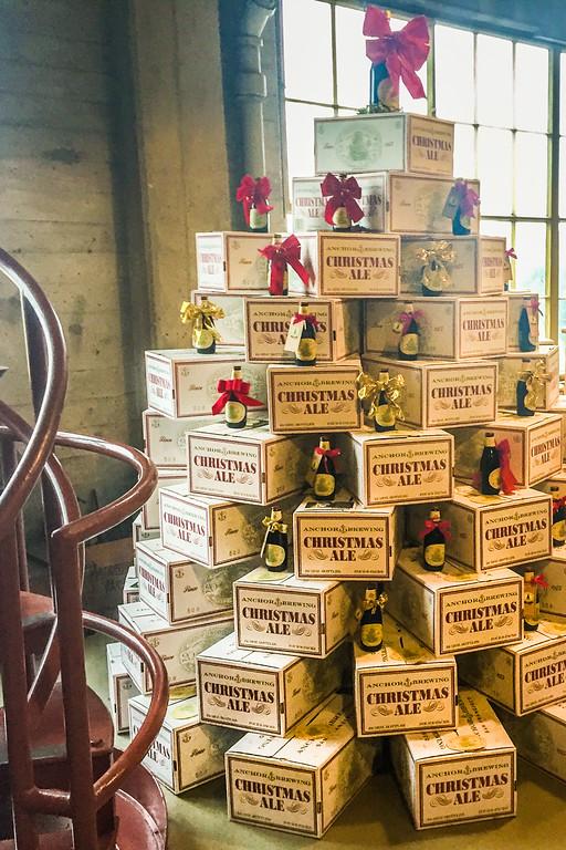 Boxed beer Christmas tree at Anchor Brewing Company, San Francisco