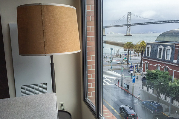 View of the Bay Bridge from Hotel Vitale, San Francisco waterfront hotel
