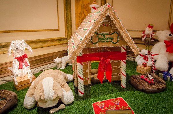 Gingerbread Dog House at the Fairmont Hotel. Christmas in San Francisco