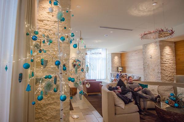 Festive holiday decor at Hotel Vitale, San Francisco waterfront hotel