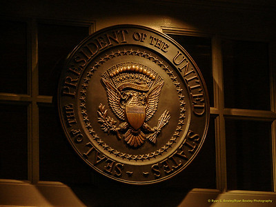 The Seal of the President of the United States above the Official Enterance to the West Wing.