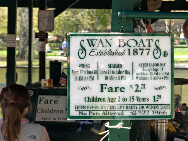 Sign for Swan Boats, Boston Public Garden