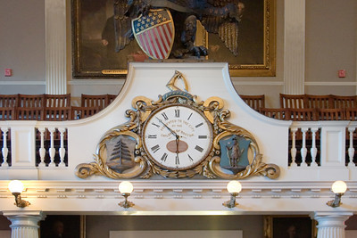 Antique Clock Inside Faneuil Hall, Boston MA