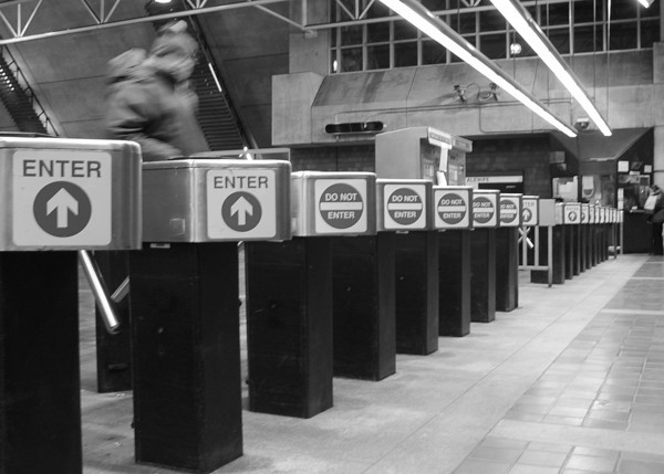 Row of Turnstiles at the Alewife T Station