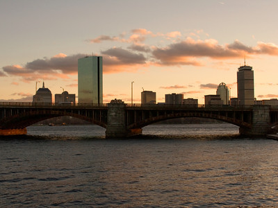 Longfellow Bridge and Boston MA Skyline
