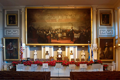 The interior of Faneuil Hall, Boston MA.